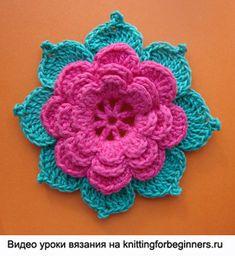 вязаная роза, вязаные цветы, как связать цветок крючком, схемы вязания цветов крючком, видео урок вязания, вязаная роза схема