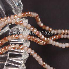 10 Strands 142 pcs/set  4.6*3.7mm Double Color Brown Beige Glass Crystal Faceted Rondelle Beads for Necklace Bracelet Wholesale