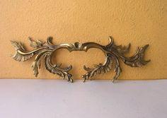 Pair of Ornate 9 in. Brass Italian Dresser Drawer Furniture Pulls, Floral Design, Architectural Salvage Restoration Hardware, altered art