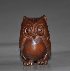 Japanese handwork boxwood netsuke carving Owl
