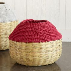 """GUATEMALAN BAMBOO BASKETS--Hand crocheted cotton tops provide access and cover to hand-woven bamboo baskets made in Guatemala. Medium, 20-1/2"""" DIA. X 15""""H; Large, 24-1/2 DIA. X 20""""H"""