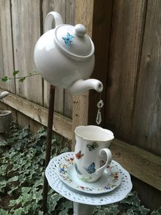 Teapot and Teacup Garden Decor by FancysGarden on Etsy