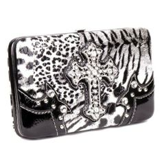 Handbags, Bling & More! Western Leopard Cross Black Rhinestone Pocket Purse W Matching Wallet : Matching Sets