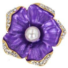 Brooches Women Copper Imitation Pearl Pin Jewelry Gold Plated Ruiska Crystal #Ruiska