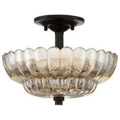Scalloped Amber Glass Semi-Flush Ceiling Light mottled_coca_and_amber