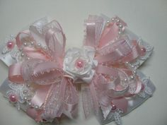 EASTER Pretty Pink WHITE Satin Lace Hair Bow Big by HareBizBows