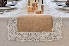 DIY Burlap and Lace Table Runner for a Fall Wedding