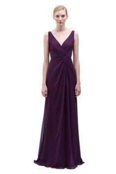 Bridesmaid BLISS Monique Lhuillier Spring / Summer 2014 - Plum long v-neck, pleated chiffon gown