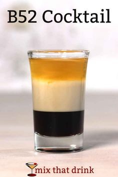 The classic cocktail recipe includes Kahlua, Baileys, and Grand Marnier, layered. The drink looks beautiful, but the taste is amazing - like orange caramel candy. Cocktail Mix, Cocktail Drinks, Fun Drinks, Yummy Drinks, Cocktail Recipes, Beverages, Kahlua Drinks, Alcoholic Drinks, Drinks Alcohol
