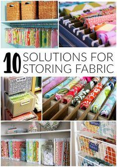 10 creative solutions for storing fabric - http://Littlehouseoffour.com