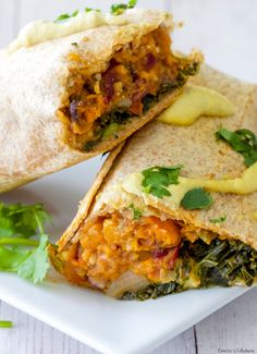 Make-ahead Kale and Sweet Potato Burritos are a healthy, tasty and flavorful meal! Freeze ahead for easy lunches all week long. Vegan + Gluten Free.