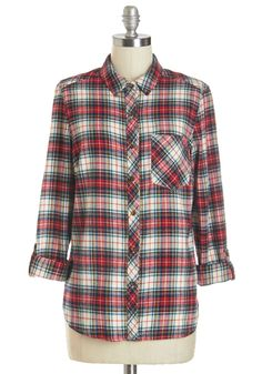 Alpine and Dine Top. To you, theres no finer dining than what can be cooked over a fire while dressed in the red, navy, and cream plaid of this cotton-flannel top. #red #modcloth