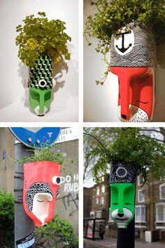 Diy Crafts - ideas garden decoration ideas summer pots for 2019 garden Kids Crafts, Garden Crafts For Kids, Crafts For Kids To Make, Diy Garden Decor, Diy And Crafts, Plastic Bottle Planter, Reuse Plastic Bottles, Plastic Bottle Crafts, Recycled Bottles