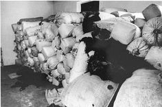 Photograph taken immediately after the departure of the Germans from Auschwitz-Birkenau. Sacks of human hair packed for dispatch to Germany.