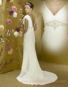 Cap Sleeve V Neck Layered Chiffion Inexpensive Wedding Dresses