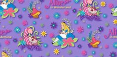 Disney Alice in Wonderland and the Cheshire Cat on Purple Cotton fabric by Springs Creative Fabric BTY