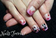Mickey n Mini Valentine's Gel Nails