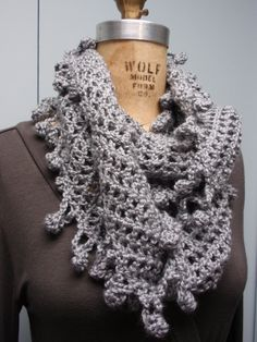 Crochet Infinity Scarf Accessories Fancy Bobble Edge Gray by flowerbasketladybug on Etsy