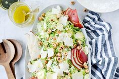 shaved Brussels sprouts topped with sliced pear, Parmesan cheese and toasted hazelnuts with a 4 ingredient lemon vinaigrette! Best Appetizers, Appetizer Recipes, Salad Recipes, Healthy Recipes, Pizza Recipes, Keto Recipes, Sprouts Salad, Brussel Sprout Salad, Brussels Sprouts