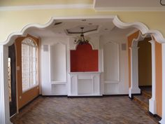 Drawing Room Ceiling Design, Bedroom False Ceiling Design, Front Wall Design, Door Design, Archways In Homes, Low Cost House Plans, Estilo Colonial, Indian House Plans, Build A Fireplace