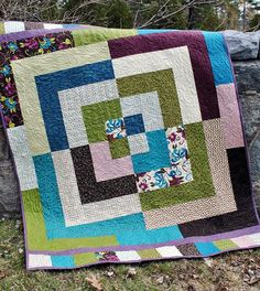Using wide strips -Revolution by Sweet Jane's Quilting & Designs - Quilt Pattern Featuring Soho Chic by Moda Jelly Roll Quilt Patterns, Patchwork Quilt Patterns, Patchwork Ideas, Block Patterns, Quilting Projects, Quilting Designs, Sewing Projects, Quilt Baby, Twin Quilt