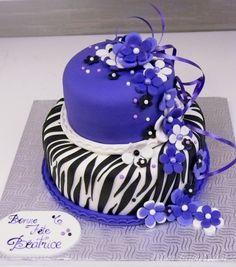 Zebra stripes and purple cake