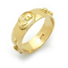 Mother Mary Gold Rosary Ring