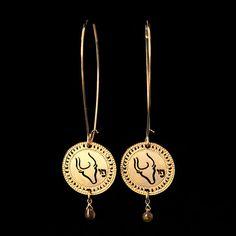 Taurus/Gold Zodiac Earrings with birthstone by KelkaJewelry, $68.00