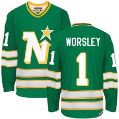 CCM Dallas Stars  1 Men s Gump Worsley Authentic Green NHL Throwback Jersey  Mitchell And Ness c5e67e33b