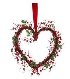 by Sainsbury's Lit Heart Wreath Sainsburys Home, Heart Wreath, Red Berries, Light Up, Valentines Day, Wreaths, Valentine's Day Diy, Door Wreaths, Deco Mesh Wreaths