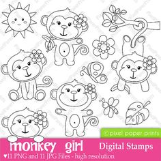 Monkey Girl - Digital Stamps set from Pixel Paper Prints Monkey Girl, Monkey Style, Clip Art, Quilting, Scrapbook, Digi Stamps, Embroidery Patterns, Coloring Pages, Applique