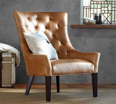 Bon Hayes Leather Armchair, Polyester Wrapped Cushions, Burnished Wolf Gray