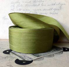 moss chartreuse green silk ribbon simple elegant holiday wedding diy decor farmhouse primitive by ShyMyrtle on Etsy