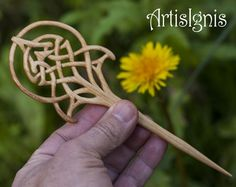 """Hair Stick """"Art Nouveau Celtic Tree of Life"""", Handmade Linden Wood Hair Pin, Handcarved Celtic Knot Accessories,Gift for her - MADE TO ORDER"""