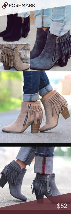 ❤️LAST ONES❤️ Fall Fringe Booties in 3 COLORS Well hello fall! These fabulous booties are so adorable and look perfect with your mini dresses or your Skinnies! The perfect go to! Super comfy. Faux suede. Fits true to size. Available in 3 colors! WHEN BUYING, PLEASE SELECT YOUR SIZE AND COLOR, not just size. Shoes Ankle Boots & Booties