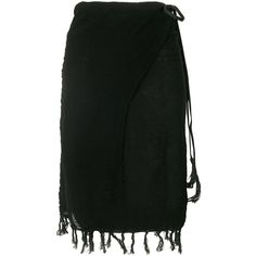 Caravana Pareo fringed skirt (490 PEN) ❤ liked on Polyvore featuring skirts, black, high waisted leather skirt, leather tassel skirt, genuine leather skirt, wrap skirts and high waisted skirts