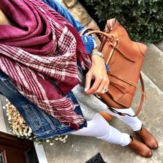IG @mrscasual <click through to shop this look> White Jeans After Labor Day in Fall with plaid scarf and cognac accessories