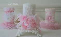 Shabby chic decorated candles that i made and sold a few years ago :)