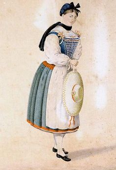 Costume protestant Bas Rhin par Charles Emrich, 1830 Alsace, Alsatian, Traditional Dresses, Folklore, Illustrations, Native American, Disney Characters, Fictional Characters, Costumes