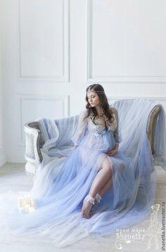 Купить Будуарное платье - голубой, юбка из фатина, пышная юбка, пышное платье, фатиновая юбка