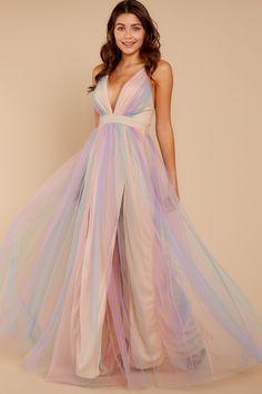 Dreamy Pastel Rainbow Gown - Deep V Tulle Maxi - Maxi Dress -  72.00 – Red e5038446c77