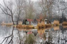 """landscape-photo-graphy: """"Abandoned Fishing Village Outside of Budapest is Perfectly Reflected on the Lake by Viktor Egyed A few miles outside of Budapest lays a small abandoned fishing village. Fishing Photography, Color Photography, Landscape Photos, Landscape Photography, Saatchi Gallery, Colossal Art, Frozen In Time, Fishing Villages, Abandoned Places"""