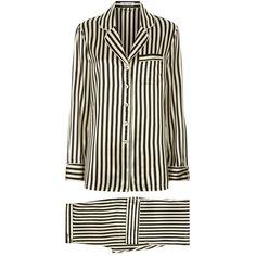 Olivia von Halle Lila Nika Silk Pyjamas ($450) ❤ liked on Polyvore featuring intimates, sleepwear, pajamas, silk pjs, silk pyjamas, silk sleepwear, silk sleep wear and silk loungewear