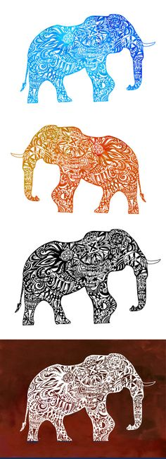 Zentangle Elephant Cut file Silhouette Clip Art Digital Printable Art Watercolor…