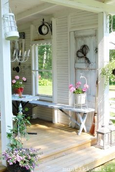 Potting shed decor! Patio Pergola, Backyard, Outdoor Rooms, Outdoor Living, Shed Conversion Ideas, Shed Decor, Home Decor, Greenhouse Shed, Estilo Shabby Chic