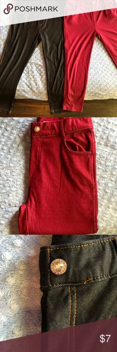 Two pair of Capri jeggings/skinny. Two pair of leggings, one black, one a deep red. They have quite a bit of stretch as they can be worn as leggings. In perfect shape, never wore them. They would be so cute on the right shape. Jeans Skinny