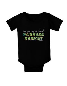 TooLoud Support Your Local Farmers Market - Color Baby Bodysuit Dark