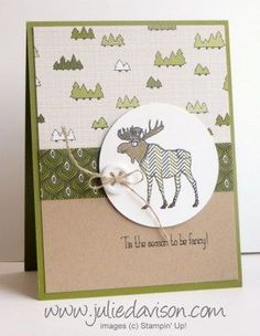 Julie's Stamping Spot -- Stampin' Up! Project Ideas Posted Daily: Stampin' Up! Visions of Santa Moose Card + Paper Piecing Video Tutorial Winter Cards, Holiday Cards, Christmas Cards, Christmas Moose, White Christmas, Christmas Ideas, Xmas, Mom Cards, Cute Cards