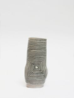 ceramic clay art pottery vase black and white stripes by Shio Kusaka