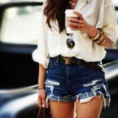 LV belt, white blouse, shorts, gold jewels-love it all!